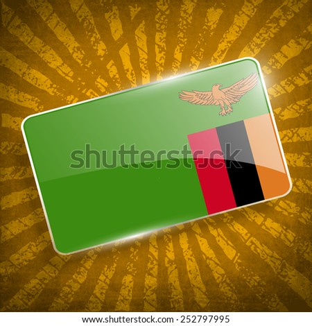 Flag of Zambia with old texture. Vector illustration - stock vector