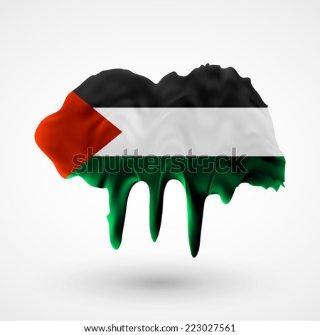 Flag painted colors. Blot with paint streaks with the national colors. Independence Day. International relations. Flag of Palestine - stock vector