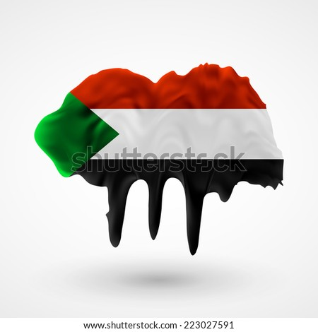 Flag painted colors. Blot with paint streaks with the national colors. Independence Day. International relations. Flag of Sudan - stock vector
