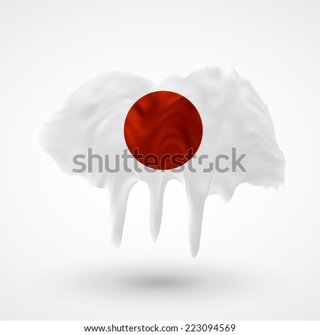 Flag painted colors. Blot with paint streaks with the national colors. Independence Day. International relations. Flag of Japan. Use for brochures, printed materials, icons, logos, signs,  elements. - stock vector