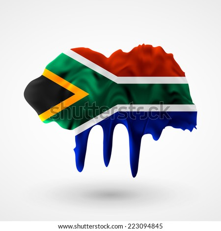 Flag painted colors. Blot with paint streaks with the national colors. Independence Day. International relations. Flag of South Africa. Use for brochures, printed materials, icons, logos, signs. - stock vector