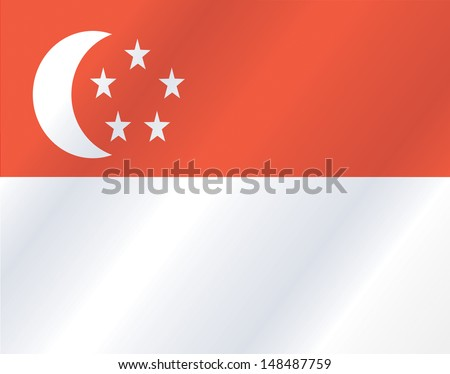 Flag pin - Singapore - stock vector