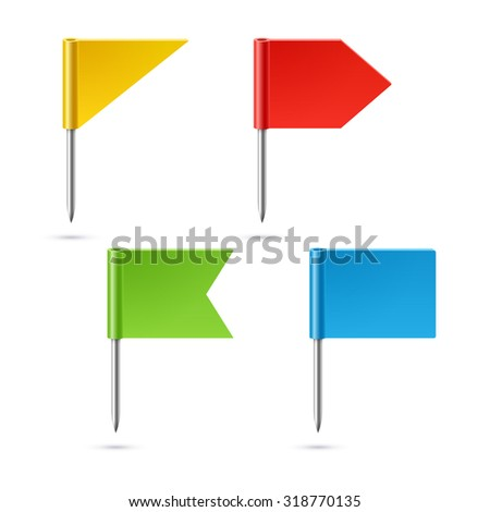 Flag pins not fixed - stock vector