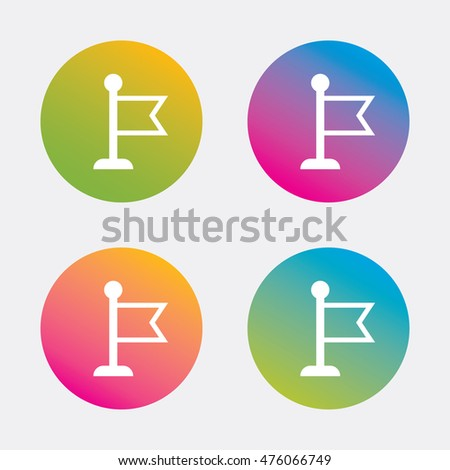 Flag pointer sign icon. Location marker symbol. Gradient flat buttons with icon. Modern design. Vector
