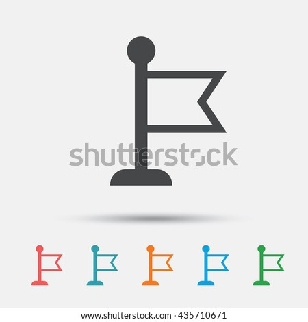 Flag pointer sign icon. Location marker symbol. Graphic element on white background. Colour clean flat flag icons. Vector