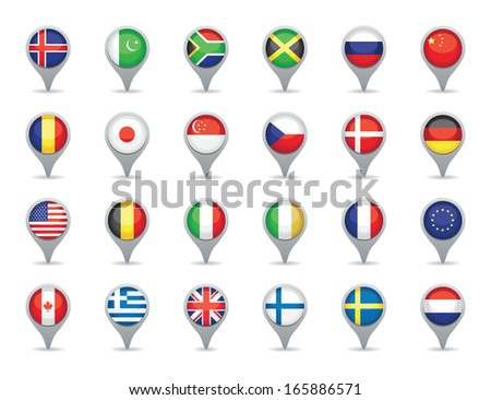 flag pointers - stock vector