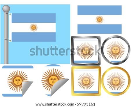 Flag Set Argentina - stock vector