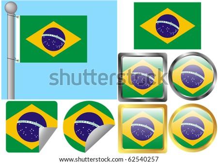 Flag Set Brazil - stock vector