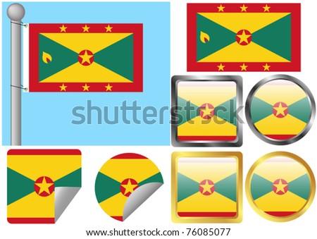 Flag Set Grenada - stock vector