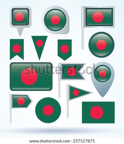 Flag set of Bangladesh, vector illustration - stock vector
