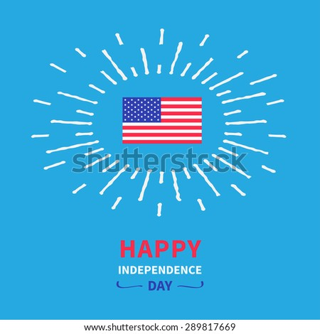 Flag shining effect. Happy independence day United States of America. 4th of July. Blue background Card Flat design Vector illustration.