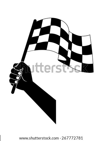 flag to start, finish racing in the hand - stock vector