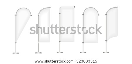 Flag vector blank banner stand display, Marketing and canvas, set of promotion banners isolated on white - stock vector