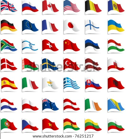 Flags. All elements and textures are individual objects. Vector illustration scale to any size.