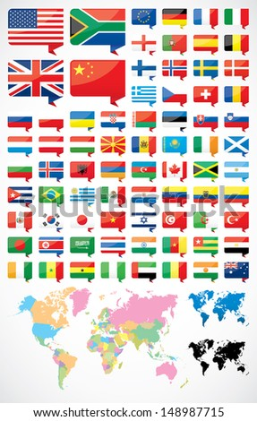 Flags and world map - stock vector