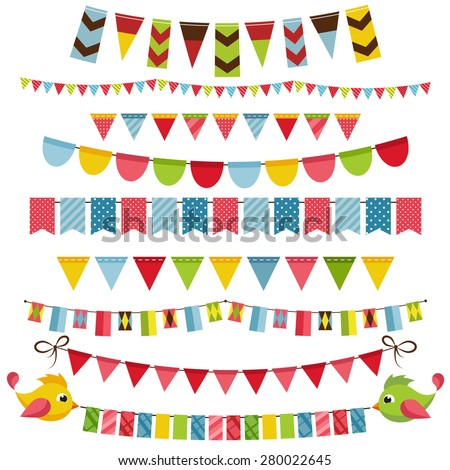 Flags, bunting and garland set - stock vector