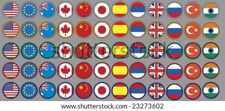 flags buttons in five different circle colors