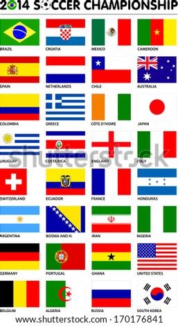 Flags for soccer championship 2014. Groups A to H. 8 groups. 32 nations. Original designs. Carefully designed. - stock vector