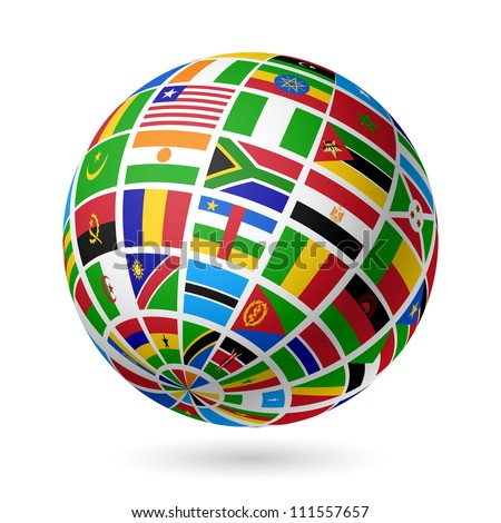 Flags globe. Africa. Vector.