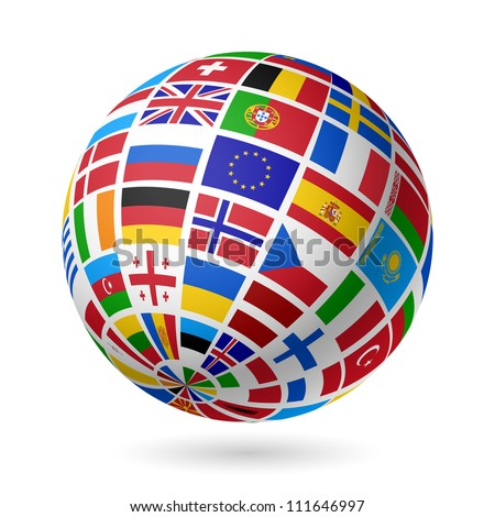 Flags globe. Europe. Vector.