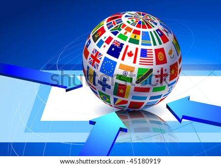 Flags Globe on Blue Abstract Background Original Vector Illustration