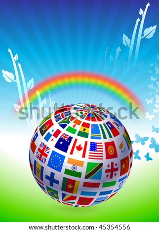 Flags Globe on Natural Background Original Vector Illustration