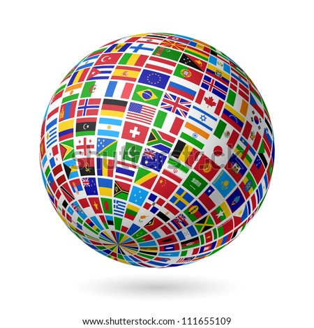 Flags globe. Vector. - stock vector