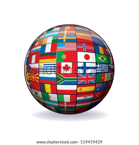 Flags Globe. Vector Sphere with Flags of the World. Object Isolated on white Background. - stock vector