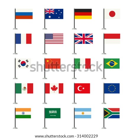 Flags icons set. Simple vector flags of the countries in flat style.