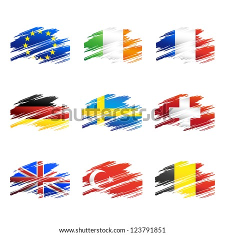 Flags in the form traces brush isolated vector
