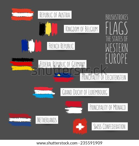 Flags made by brush strokes. Set of flags of states of Western Europe. Full names of States in English on white labels. Imitation of appliques and painting - stock vector