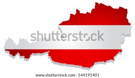 flags map Austria vector illustration - stock vector