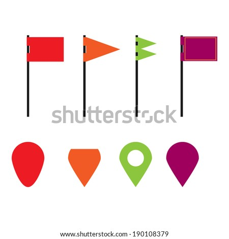 Flags Markers - stock vector