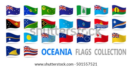 Flags Oceania collection. Vector illustration.