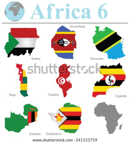 Flags of Africa collection 6 overlaid on outline map isolated on white background - stock vector