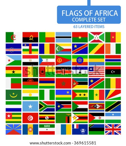 Flags of Africa Complete Set. Flag set in alphabetical order.All elements are separated in editable layers clearly labeled.