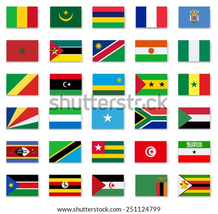 Flags of Africa countries.Set 2.Vector - stock vector