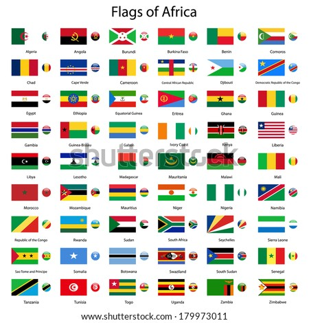 Flags of Africa vector set - stock vector