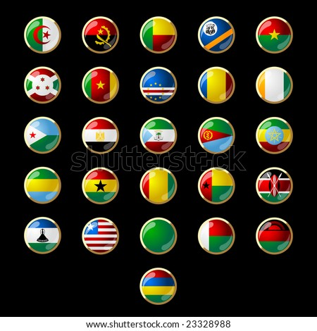 Flags of African states 001 - stock vector