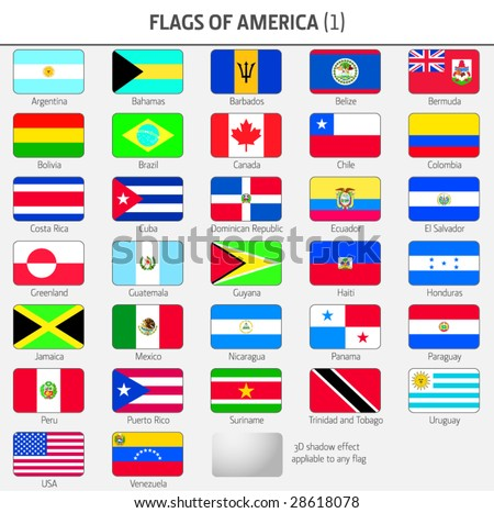 Flags of all American Countries 1 - stock vector