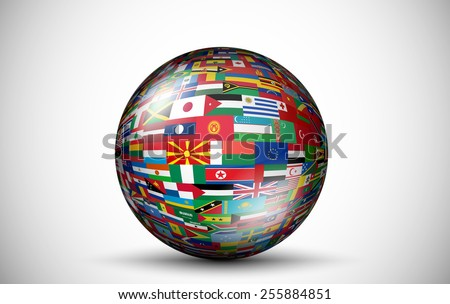 Flags of all countries in the form of spheres - stock vector