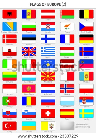 Flags of all Europe States - stock vector