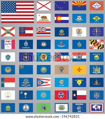 Flags of American States - stock vector