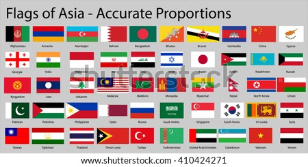 Flags of Asia continent with names - Proper Dimensions - stock vector