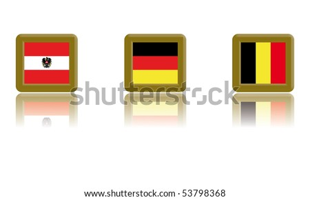 Flags of Austria, Germany and Belgium with gold frame and reflection