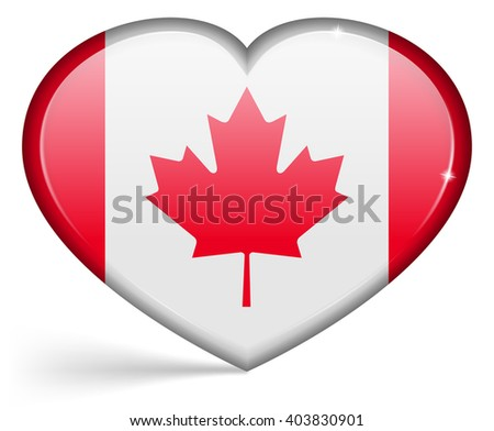 Flags of Canada in a heart shape with highlights on the edges. Vector illustration - stock vector
