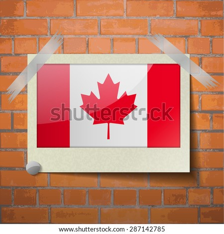 Flags of Canada scotch taped to a red brick wall. Vector - stock vector