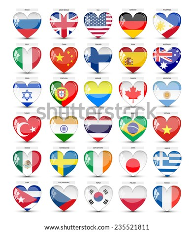Flags of countries in a glass heart. Isolated on a white background. vector - stock vector