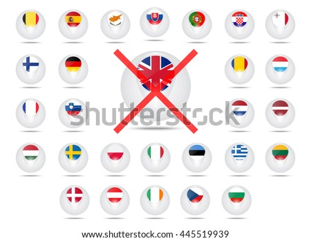 Flags of countries member of the European Union. Struck-through flag of Great Britain. exit from the EU. A set of vector icons.