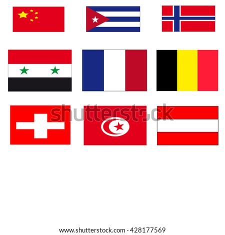 Flags of countries White Background